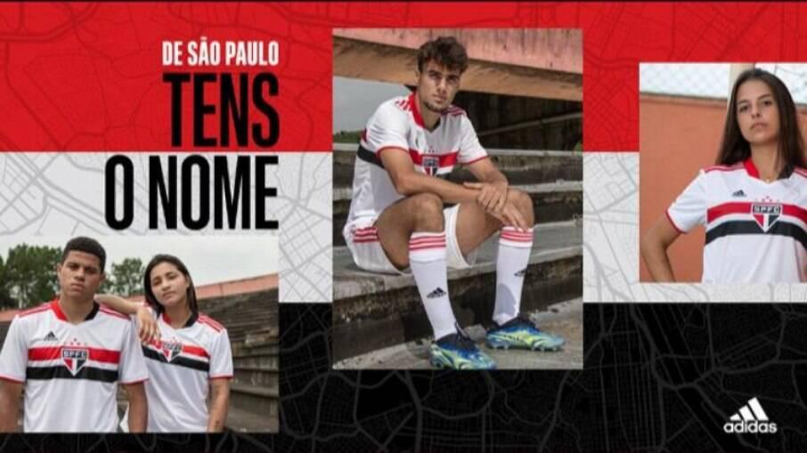 Anúncio do novo uniforme do São Paulo
