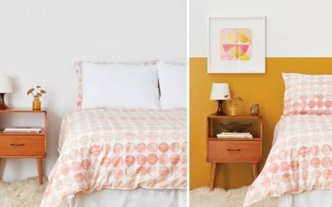 Antes e Depois de um espaço com parede bicolor