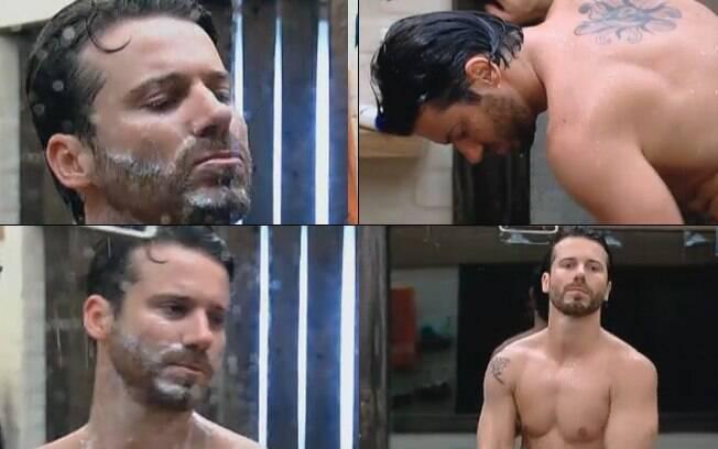 Durante o banho, Marlon aproveitou para fazer a barba