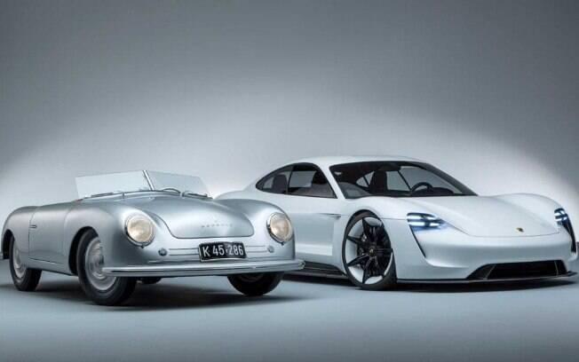 Porsche 356 Roadster (esquerda) e Mission E (direita): os dois extremos cronológicos lado a lado, na mesma imagem