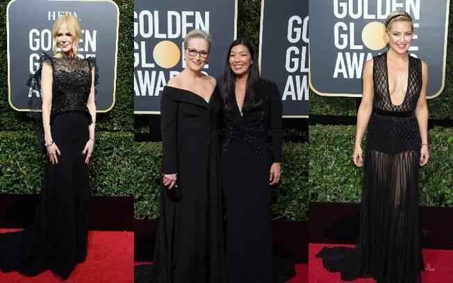 """Atrizes e outras convidadas do Globo de Ouro 2018 usaram preto na premiação para mostrar apoio ao movimento """"Time's Up"""", e a elegância marcou presença também"""