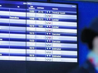 Clima.  Ontem e domingo, vários voos foram cancelados em Confins por causa da ausência de aparelho que auxilia no pouco com chuva