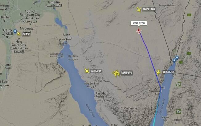 O controle de tráfego aéreo egípcio disse que perdeu o contato com o avião russo 23 minutos após a decolagem . Foto: Reprodução/Flightradar24
