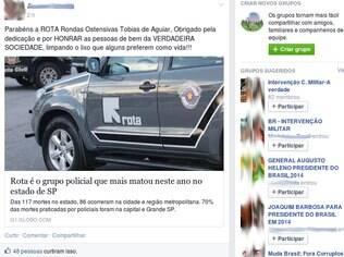 Imagem divulgada no grupo Intervenção Militar, do Facebook,