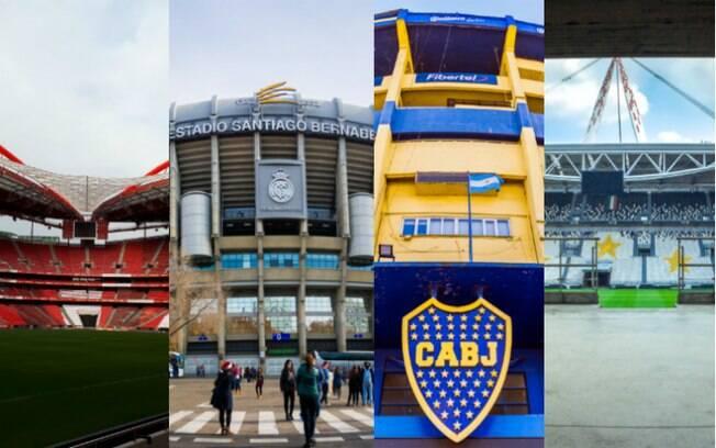 Conheça 16 estádios pelo mundo. Na foto (esq para dir): Estádio da Luz, Santiago Bernabéu, Bombonera e Allianz Stadium