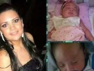 Izabella Marques Gianvechio e seus filhos gêmeos
