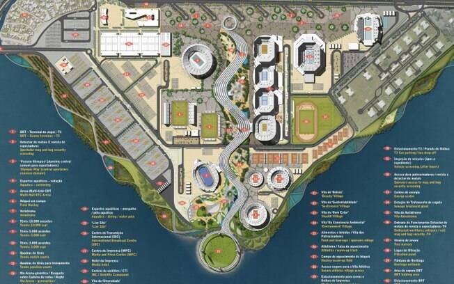 Planta geral do Parque Olímpico da Barra da  Tijuca, que receberá boa parte das competições em  2016