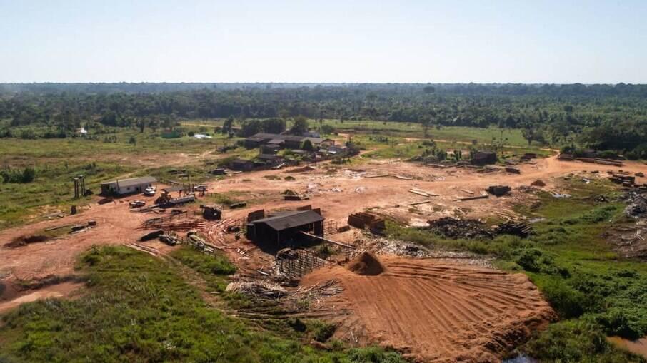 Grandes campos em desmatamento próximo à BR319, na cidade de Realidade (AM)