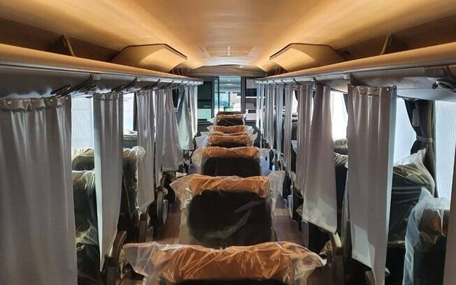 Ônibus adaptado para prevenir o contágio pelo novo coronavírus