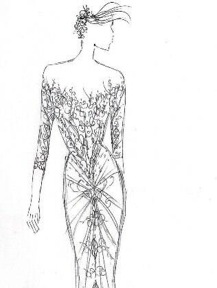 Croqui do vestido de Samuel Cirnanski para Fernanda Lima