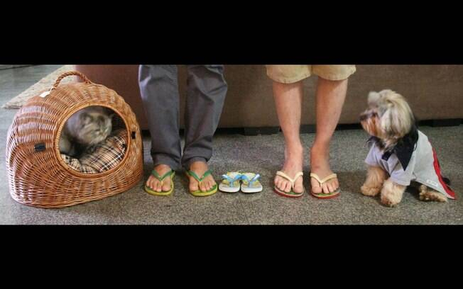 Com a gata e o cão, uma família em compasso de espera: os pés de Marcelo e Jack e o chinelinho reservado para os pés do filho que vai chegar