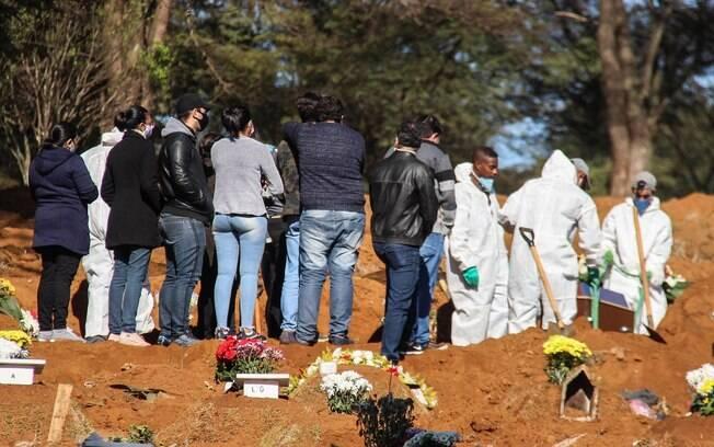 Em menos de dez minutos, os corpos são transportados das vans e as com as pás, os sepultadores enterram mais uma vítima da Covid-19