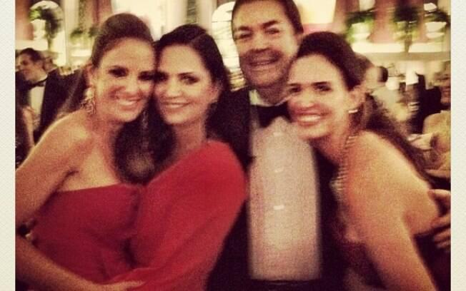 Ticiane Pinheiro, Luiza Brunet e Faustão com a mulher Luciana Cardoso