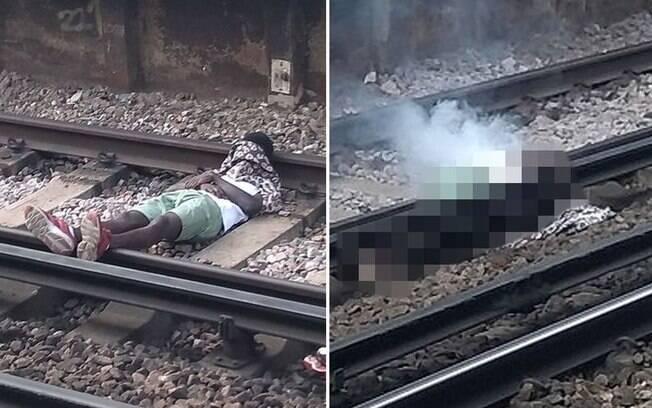 Homem estava dormindo sob os trilhos antes do acidente