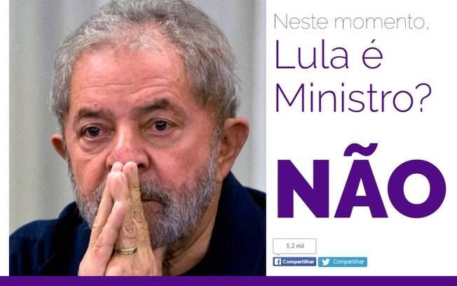 Lula é ministro? Site criado recentemente responde a pergunta em tempo real