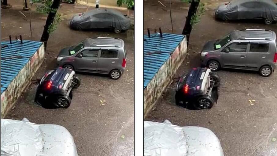 Carro desaparece ao ser engolido por cratera na Índia
