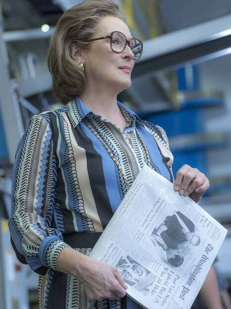 Meryl Streep (Kat Graham) em cena no filme 'The Post - A Guerra Secreta'