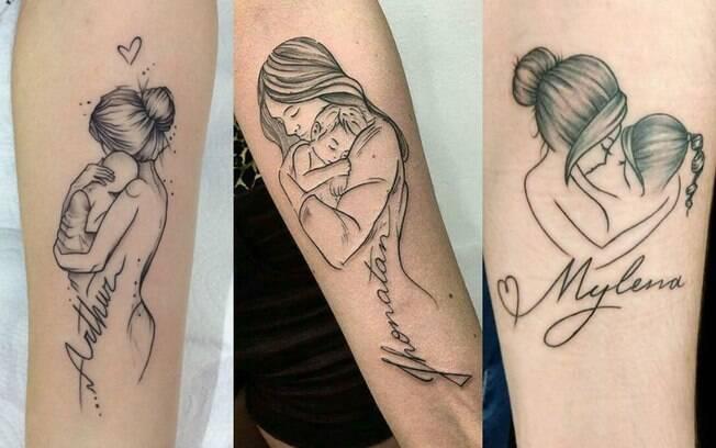 Uma foto sua com seu filho ou filha pode servir de base para uma tatuagem de uma mãe segurando uma criança no colo