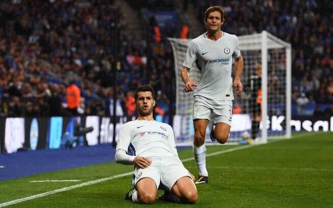 O espanhol Alvaro Morata marcou o primeiro gol do Chelsea na vitória sobre o Leicester