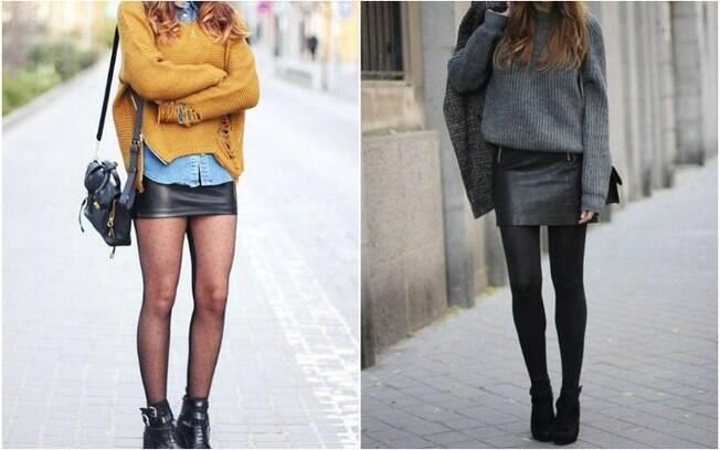 No frio, uma ideia interessante é combinar as saias de couro com meias-calças e suéteres quentinhos