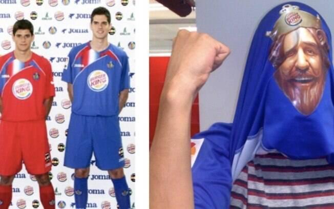Getafe, clube espanhol, foi patrocinado pela lanchonete Burguer King. O inusitado ficava por dentro da camisa.