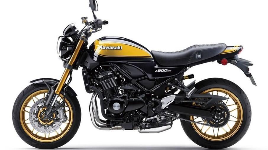 A pintura 'Yellow  Ball' faz referência às clássicas moto, como a Z1 Super Four de 1972