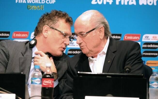 Jerome Valcke e Joseph Blatter durante a Copa de 2014