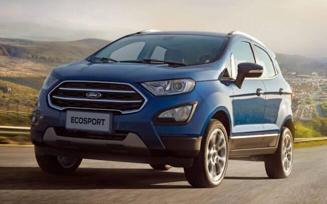 Ford EcoSport 2018 passa a ter mudanças nodesenho, seguindo a nova identidade visual da marca no mundo