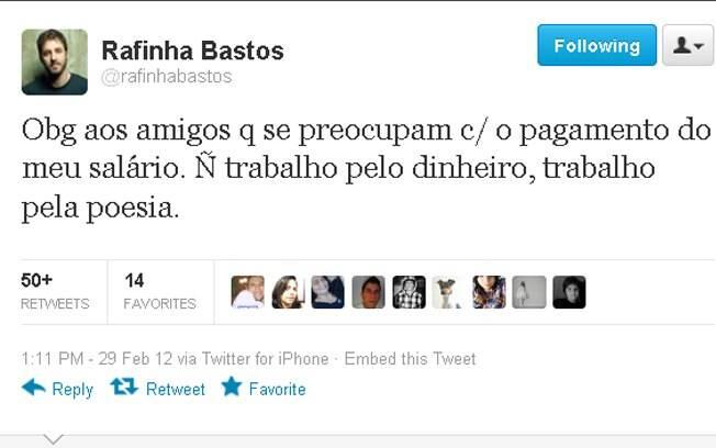 Rafinha Bastos escreveu no Twitter sobre sua nova casa