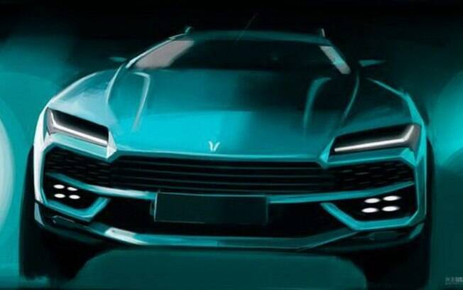 Huansu Concept é a nova cópia do SUV Lamborghini Urus no mercado asiático. Visto de frente, a semelhança é evidente
