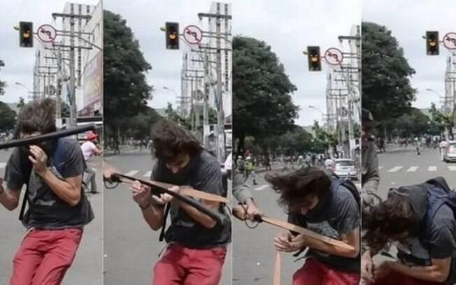 Estudante foi agredido pelo policial em 2017, durante um protesto em Goiânia