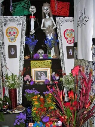 O altar criado por Lourdes para a celebração do Dia dos Mortos deste ano