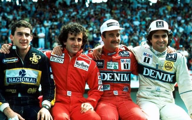 Ayrton Senna, Alain Prost e Nelson Piquet eram rivais na Fórmula 1