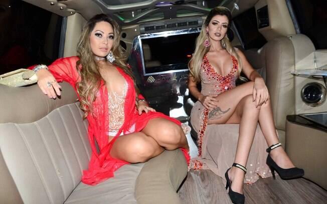 Jéssica Cristy e Elga Shitara chegaram de limousine no evento