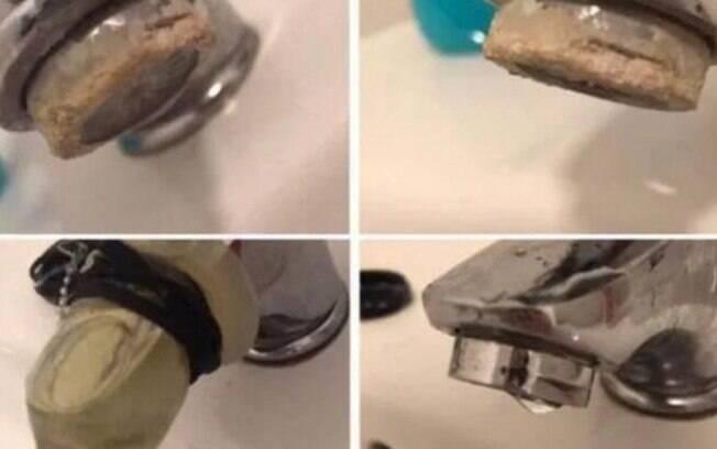 Após fazer a experiência do vinagre dentro do preservativo, a mulher compartilhou o resultado em um grupo do Facebook