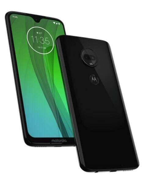 Celular Moto G7 visto de frente e de costas