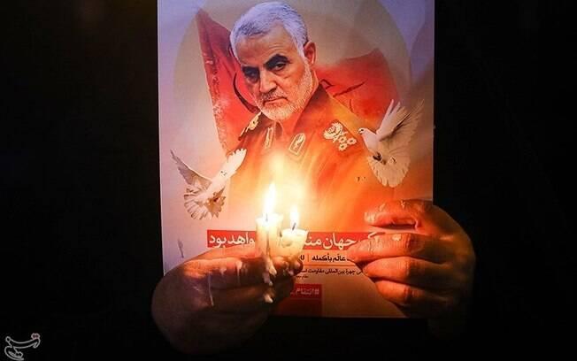 Imagem do funeral do general Soleimani