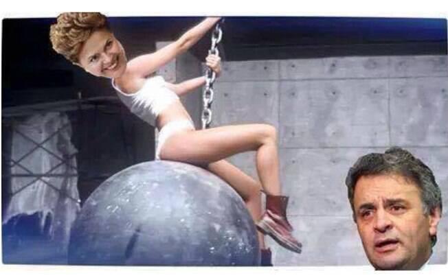 'I came in like a wrecking ball', diz Dilma para Aécio, em montagem de clipe da cantora Miley Cyrus. Foto: Reprodução