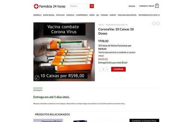 Site Farmácia 24 horas vendia doses falsas da CoronaVac, vacina contra a Covid-19: dez doses por R$ 98
