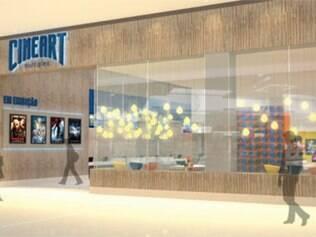Projeto da entrada do complexo de cinema no Monte Carmo Shopping