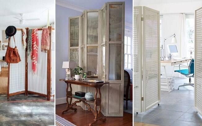 Além de estantes, também é possível escolher um biombo que combine com a decoração para delimitar um ambiente