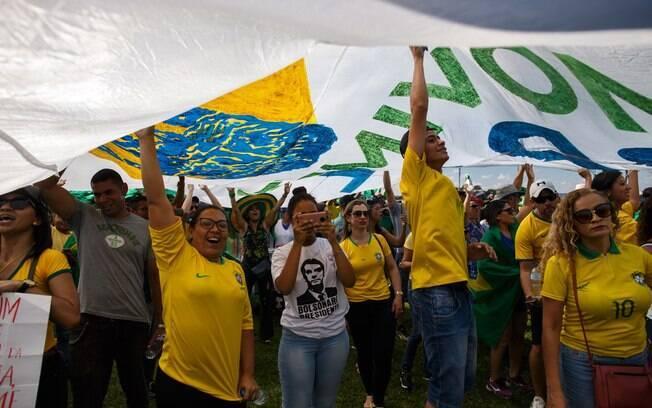 Manifestação em Brasília a favor do governo Bolsonaro