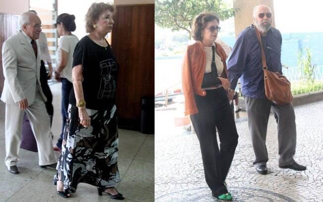 Na esquerda, Daisy Lúcidi chega ao velório. Na direita, Mauro Mendoça e Rosamaria Murtinho
