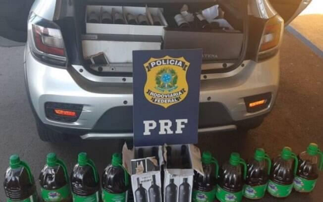 PRF apreendeu vinhos e azeites irregulares que viriam do Paraguai para São Paulo