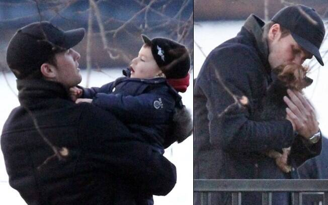 Tom Brady brincou com o filho em Boston