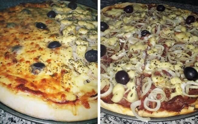 Duas pizzas feitas por Navarro que, mesmo sem forno a lenha, utiliza a churrasqueira para dar um