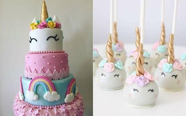 Decoração de unicórnio pode contar com detalhes especiais no bolo e nos docinhos. Veja mais dicas