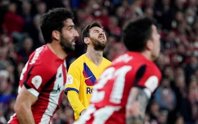 Messi em ação pelo Barcelona contra o Athletic Bilbao