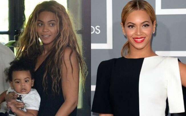 Antes e depois: Após show em Paris, Beyoncé passeia sem maquiagem com a filha Blue Ivy no colo