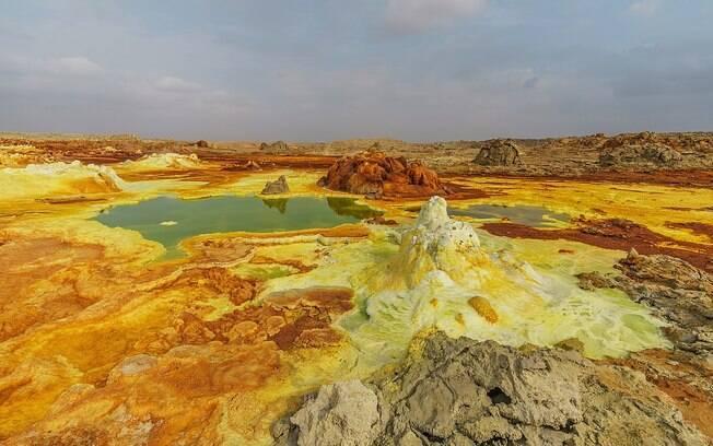 Dallol fica na Etíopia, na região do Chifre da África.